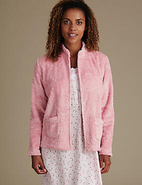 Long Sleeve Bed Jacket, TEA ROSE, catlanding