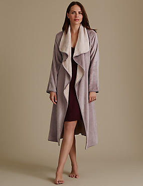 Belted Long Sleeve Dressing Gown, CHAMPAGNE, catlanding