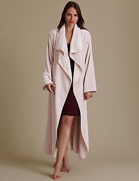Belted Long Sleeve Dressing Gown, ROSE PINK, catlanding