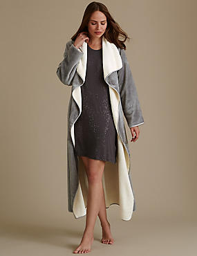 Belted Long Sleeve Dressing Gown, GREY MIX, catlanding