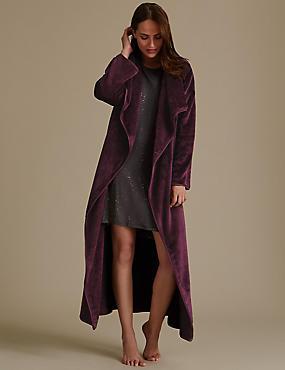 Belted Long Sleeve Dressing Gown, PLUM MIX, catlanding