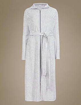 Robe de chambre en velours de coton à col cheminée, GRIS ASSORTI, catlanding