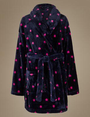Короткий халат из флиса со звёздами M&S Collection T372955