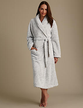 Long Sleeve Belted Dressing Gown, GREY MIX, catlanding
