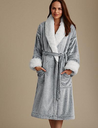 Marl Faux Fur Trim Dressing Gown | M