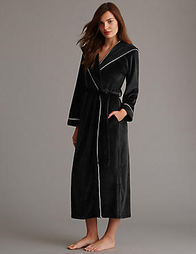 Hooded Fleece Dressing  Gown, BLACK, catlanding