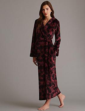 Floral Fleece Hooded Dressing Gown, BURGUNDY MIX, catlanding