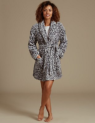 Shimmer Animal Print Dressing Gown, GREY MIX, catlanding