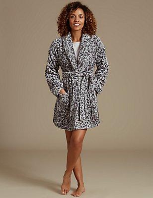 Shimmer Animal Print Dressing Gown, GREY MIX, catlanding