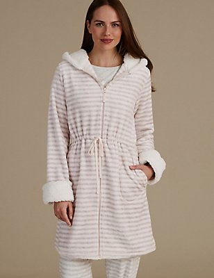 Hooded Striped Dressing Gown, GREY MIX, catlanding
