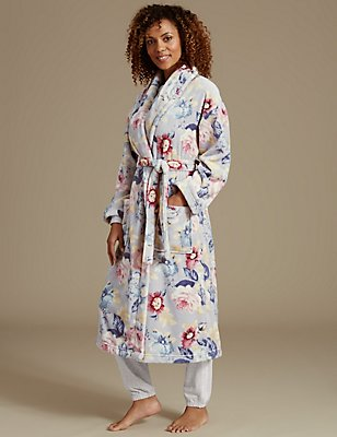 Floral Print Dressing Gown, GREY MIX, catlanding
