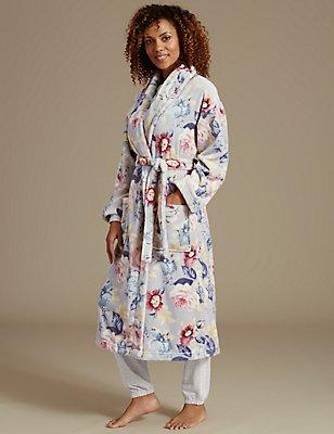 Floral Print Dressing Gown, GREY MIX, catlanding