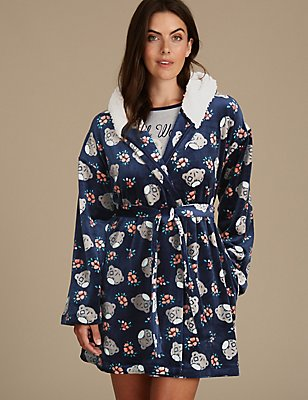 Printed Fleece Dressing Gown, NAVY MIX, catlanding
