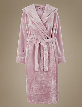 Satin Trim Hooded Dressing Gown, PINK, catlanding
