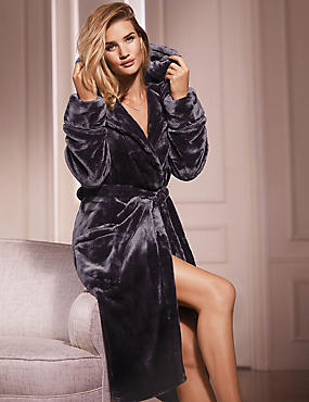 Satin Trim Hooded Dressing Gown, DAMSON, catlanding