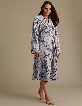 Satin Burnout Hooded Dressing Gown, SILVER MIX, catlanding