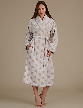 Carved Star Print Dressing Gown, NEUTRAL, catlanding