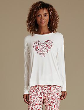 Woodland Print Long Sleeve Pyjama Top, CREAM MIX, catlanding