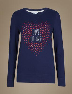 Пижамный топ с длинным рукавом с сердечками и надписью