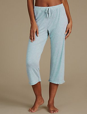 Frill Cropped Pyjama Bottoms, MINT MIX, catlanding