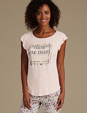 Floral Print Cap Sleeve Pyjama Top, PINK MIX, catlanding