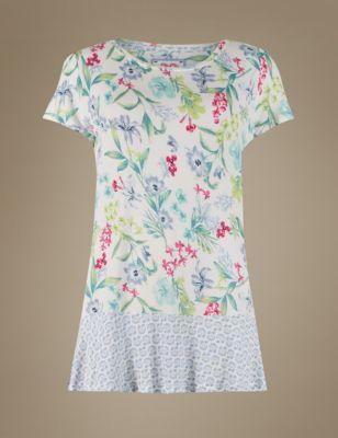 Пижамный топ с комбинированным принтом Botanical от Marks & Spencer