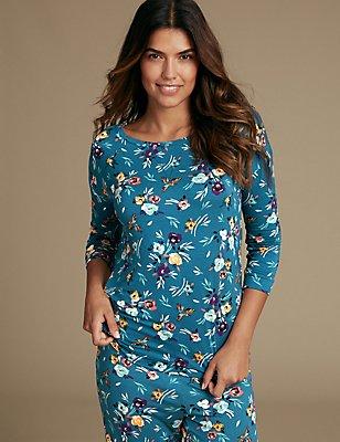Floral Print Pyjama Top, TEAL, catlanding