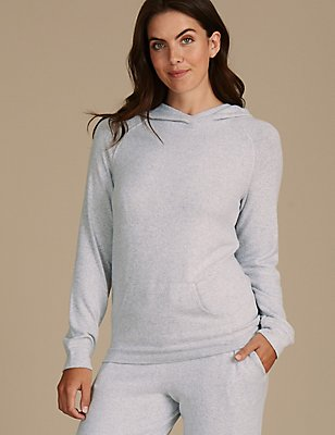 Hooded Long Sleeve Pyjama Top, GREY, catlanding