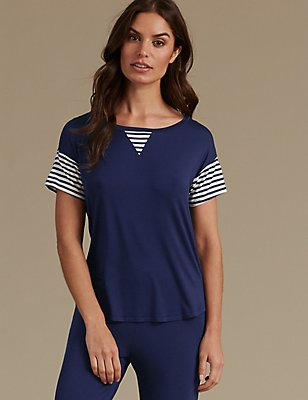 Striped Short Sleeve Pyjama Top, NAVY MIX, catlanding