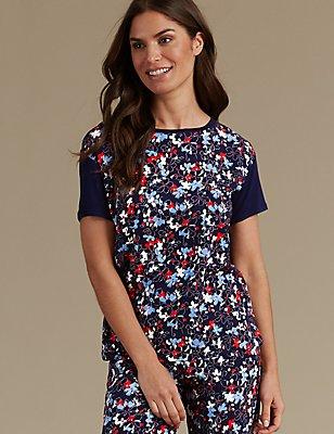 Floral Print Pyjama Top, NAVY MIX, catlanding