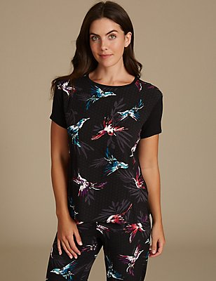 Bird Print Short Sleeve Pyjama Top, BLACK, catlanding