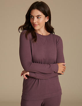 Long Sleeve Pyjama Top, PURPLE, catlanding