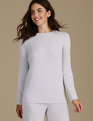 Long Sleeve Pyjama Top, GREY MIX, catlanding