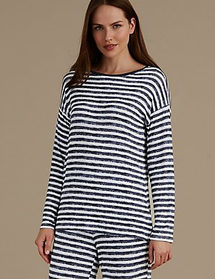 Striped Long Sleeve Pyjama Top, NAVY MIX, catlanding