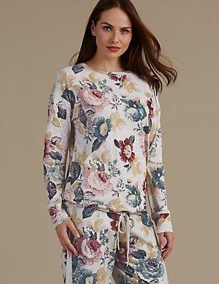 Cotton Rich Floral Print Pyjama Top, BLUE MIX, catlanding