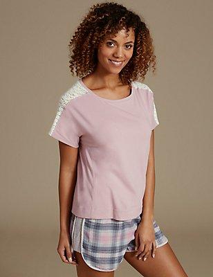 Lace Insert Short Sleeve Pyjama Top, PINK, catlanding
