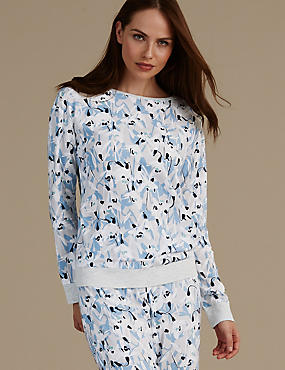 Floral Print Long Sleeve Pyjama Top, BLUE MIX, catlanding