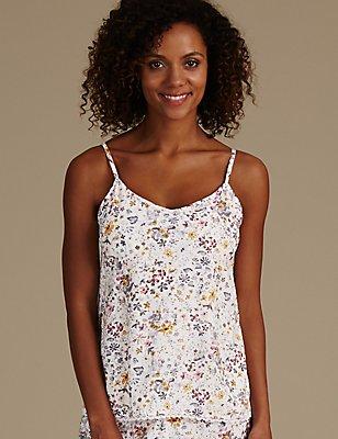 Floral Print Strappy Camisole Pyjama Top, CREAM MIX, catlanding