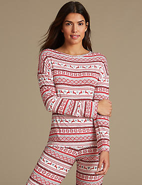 Haut de pyjama à manches longues et imprimé jacquard, AVOINE ASSORTI, catlanding