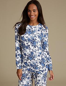 Floral Print Long Sleeve Pyjama Top, CREAM MIX, catlanding