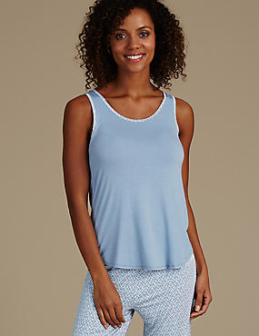 Sleeveless Swing Camisole Pyjama Top, BLUE MIX, catlanding