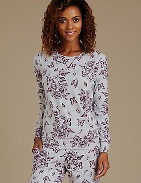 Floral Print Pyjama Top, GREY MIX, catlanding