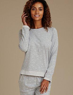 Dandelion Pyjama Top, GREY MIX, catlanding