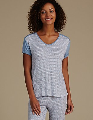 Geometric Print Short Sleeve Pyjama Top , BLUE MIX, catlanding
