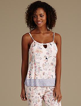 Haut de pyjama style caraco à bretelles et imprimé fleuri, COULEUR CHAIR, catlanding