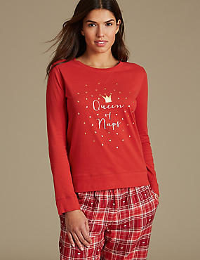 Pure Cotton Printed Long Sleeve Pyjama Top, RED MIX, catlanding
