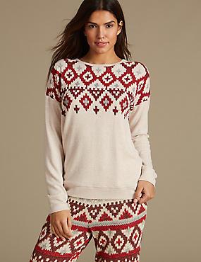 Fairisle Print Long Sleeve Pyjama Top, OATMEAL MIX, catlanding