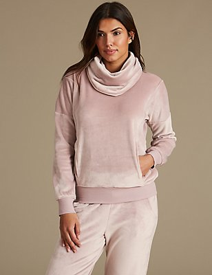Fleece Long Sleeve Pyjama Top, PINK MIX, catlanding