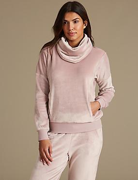 Fleece Long Sleeve Pyjama Top, PINK MIX, catlanding