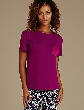 Short Sleeve Pyjama Top, MAGENTA, catlanding